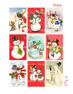 Vintage Christmas Card Imagessnowman snowmen by TheDigitalChick, $2.25