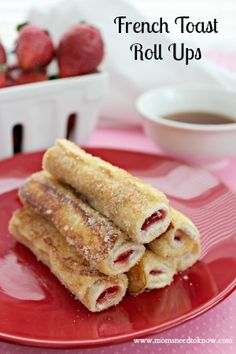 French Toast Roll-Ups with Cream Cheese and Strawberries