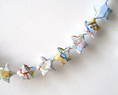Recycled Map Garland