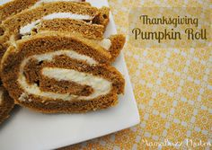Thanksgiving Pumpkin Roll with cream cheese filling