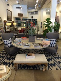 Ikat #chevron #navy area #rug paired with #grey #chairs and lots of fabulous #Mecox #goodreads at our #Chicago location! Come check it out. #Interiordesign #MecoxGardens #furniture #shopping #home #decor #design #room #designidea #vintage #antiques #garden