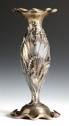 Fine & Rare Monumental Black Starr & Frost Sterling Art Nouveau Vase