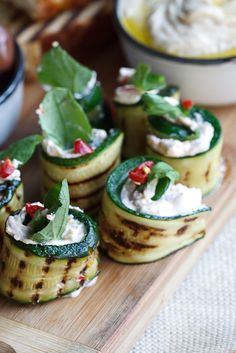 Fancy - grilled zucchini with feta, mint & chili