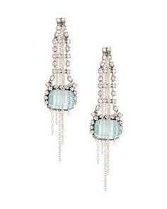 chain and rhinestone ladder drop earrings