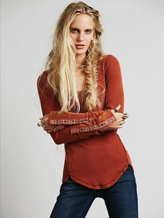 We The Free Studded Heart Cuff Thermal, Harvest Red