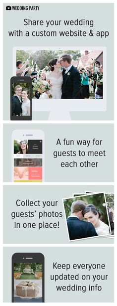 The perfect way for couples & their #guests to stay connected from the #engagement to the big day! Guests can easily access event, hotel & travel details, and can also share all the #photos they capture at #wedding events. #app #website