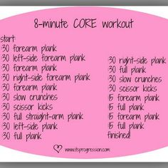 8-minute core workout, this is a killer!!!