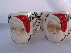 Vintage Christmas Japan Santa Mugs Jewel Eye Winking Santa Darling Lot 4 | eBay