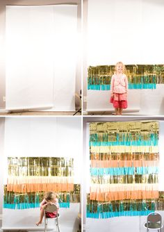 Tutorial : fringed photobooth backdrop for only $13!  {Confetti Sunshine}