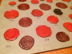 Collection of 31 Wax Seal Crest Intaglio Stamps