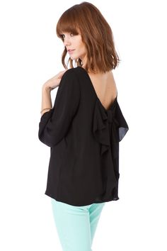 ShopSosie Style : Coletta Bow Blouse in Black