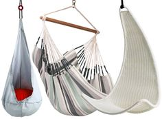 L-R Ekorre hanging seat ikea, hammock chair from not on the high street, and ikea Ps Svinga hanging seat