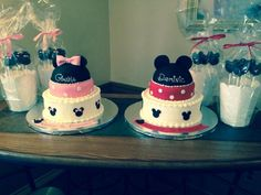 Mickey & Minnie Cakes with Pops!  Twins 1st Birthday