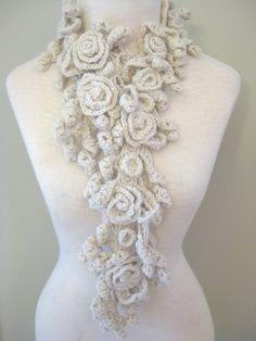 Ivory crochet scarf