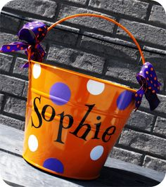 Personalized Halloween Bucket - Lots of Designs Available. $22.00, via Etsy.