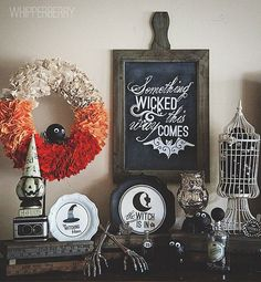 Halloween Display. See all our chalkboards here: http://www.lightsforalloccasions.com/c-404-chalkboards-slate.aspx All our birdcages here: http://www.lightsforalloccasions.com/c-414-bird-cages.aspx halloween decorations, mantel, chalkboard quotes, mantle decorating, wreath, halloween photos, halloween decorating ideas, silhouette cameo, wicked