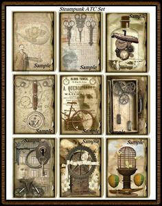 steampunk card, steampunk atc, alter art, atc set, art steampunk, collag, artist trade, steampunk printables, design