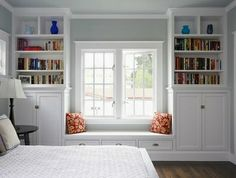 book shelves around a double window
