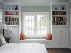 book shelves around a double window