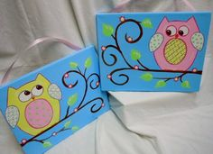 OWL wall art ADORABLE for baby girl two 11 x 14 by STROKESofFAITH, $39.50