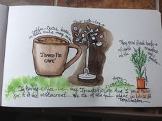 Watercolor, travel journal entry by Tisha Sheldon