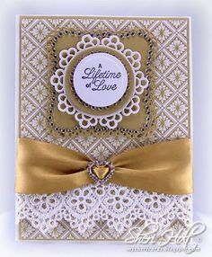 Stunning Love Card...with lace trim & gold satin bow...JustRite.