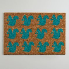 Blue Squirrels In a Row Doormat from World Market - for inside the reception hall, in case it rains on day of squirrel-themed wedding