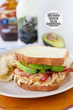 BBQ Ranch Chicken Salad Sandwiches | www.tasteandtellblog.com