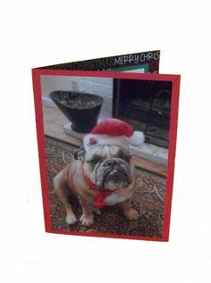 Bulldog Christmas Card Santa Dog Card Merry by Lillyzcardz on Etsy, $4.00