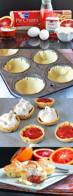 Blood Orange Mini Meringue Pies  I will be making these just not with blood oranges these looks way cute thou