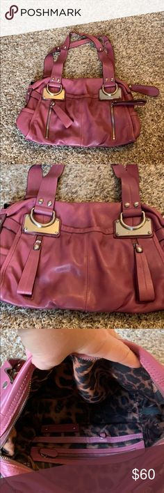 B. Makowsky super soft leather handbag. Gently used. Interior is perfect with lots of pockets. Hardware is in perfect condition. Zippers work great. Love the cell phone pocket in back. Small area on bottom has discoloring from normal wear. b. makowsky Bags Shoulder Bags