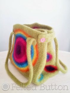 It's Stashing Tote--colorful crochet patterns by Felted Button