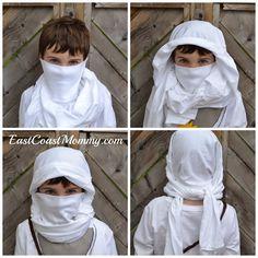 No-sew ninja hood from a turtleneck.