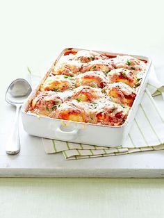 Jazz up your frozen ravioli with this recipe for Ravioli-Green Bean Lasagna.