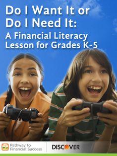 Do I Want It or Do I Need It? Lesson on wants vs. needs for elementary school #pathwaytofinancialsuccess #discover #weareteachers