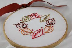embroidered leaves- fall table runner?