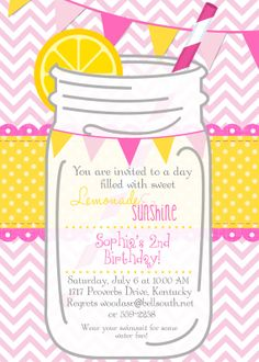 Pink LEMONADE Printable Invitation Pink by CherryBerryDesign