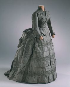 Wedding dress, 1874, Hillwood   Ella Letitia Merriweather (American, 1853-1912) wore this dress for her marriage to C.W. (Charles William) Post (American, 1854-1913) on November 16, 1874.