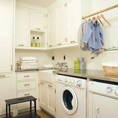 Overhead laundry room drying rack. I am obsessed with air drying.