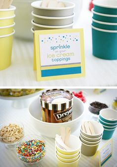 baby sprinkle ice cream station (maybe pre scooped in jars so no scooping is required)