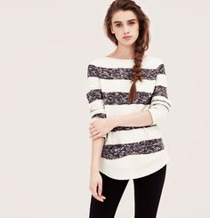 Swapped Loft Lou & Grey Texture Stripe Sweater. NWT. Size XL. Bad color for me and I missed the return.