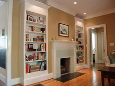 Skinny bookcases wall colors, bookcases, bookshelf design, living rooms, fireplaces, fireplace design, hous, live room, living room shelves