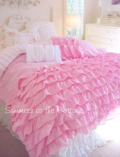 PERFECTLY PINK DREAMY RUFFLES SHABBY COTTAGE CHIC COMFORTER SET - QUEEN OR TWIN