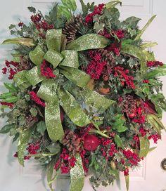 Christmas Wreath-Berry Pine Greenery
