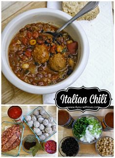 Italian Chili - a hearty meal that is oh so good!  The recipe is enough for a few meals.  Including prep time and cook time, dinner is ready in an hour or so.