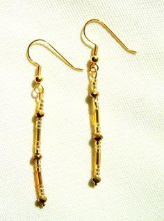 Dangle Beaded Earrings Gold/ Drop Gold by LittleGemsandMore, $10.00