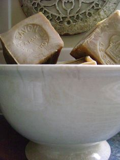 french soap in ironstone bowl
