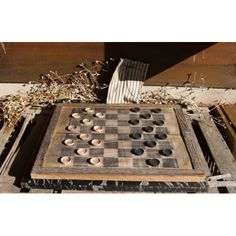 Primitive Old Barn Wood Checker Draughts Board 17.5 x 20