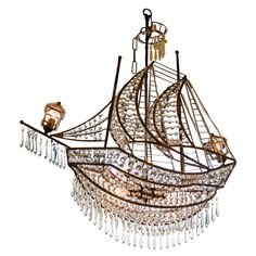 crystals, ship chandeli, vintag ship, chandeliers, ships, light