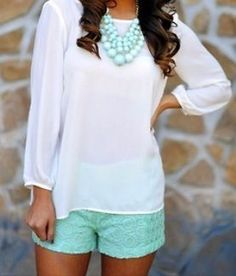 Spring outfit.  Textured shorts, chunky necklace.